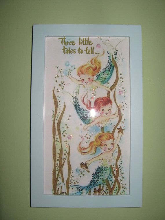 Mermaids- Very Retro Look for Child's Room- Print Only Two sizes available