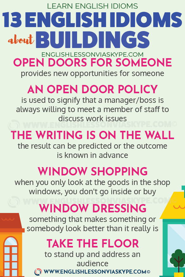13 English Idioms About Buildings English Idioms Idioms English Phrases