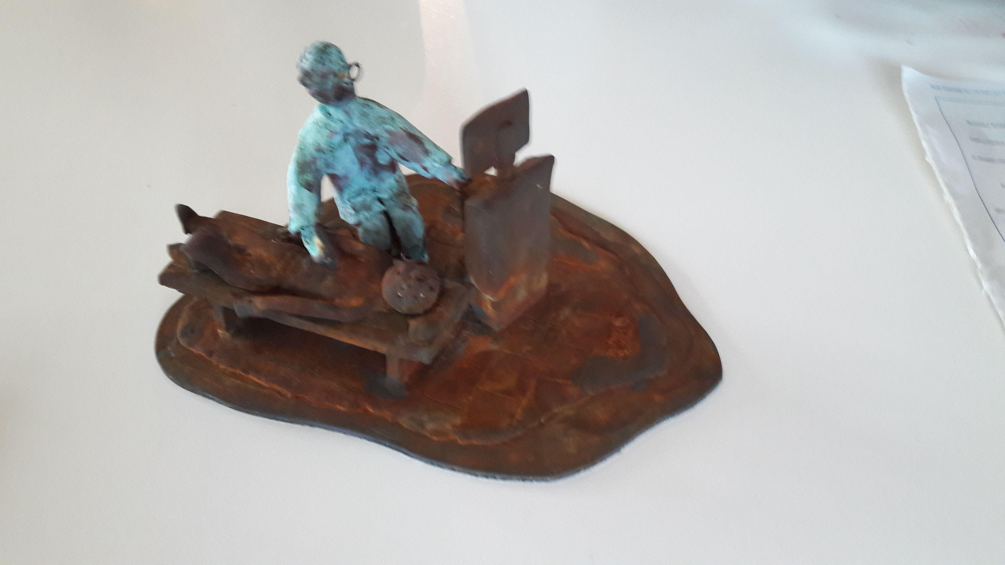 Der Ultraschall - Eisen- Kupfer Look / Kundenauftrag für einen Arzt der in den Ruhestand geht. Größe ca 15 x 15 cm