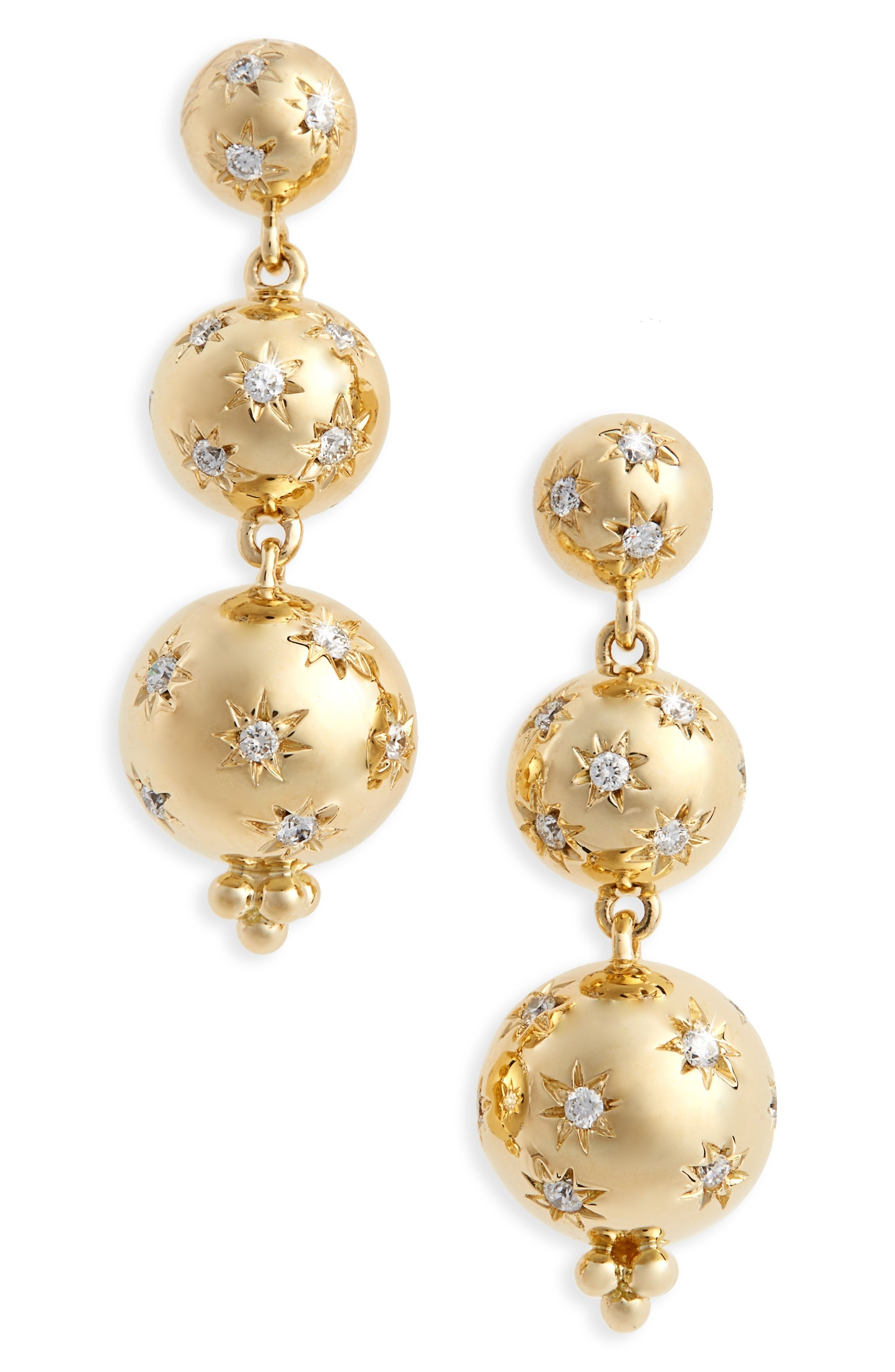 Temple St Clair Cosmos Diamond Drop Earrings