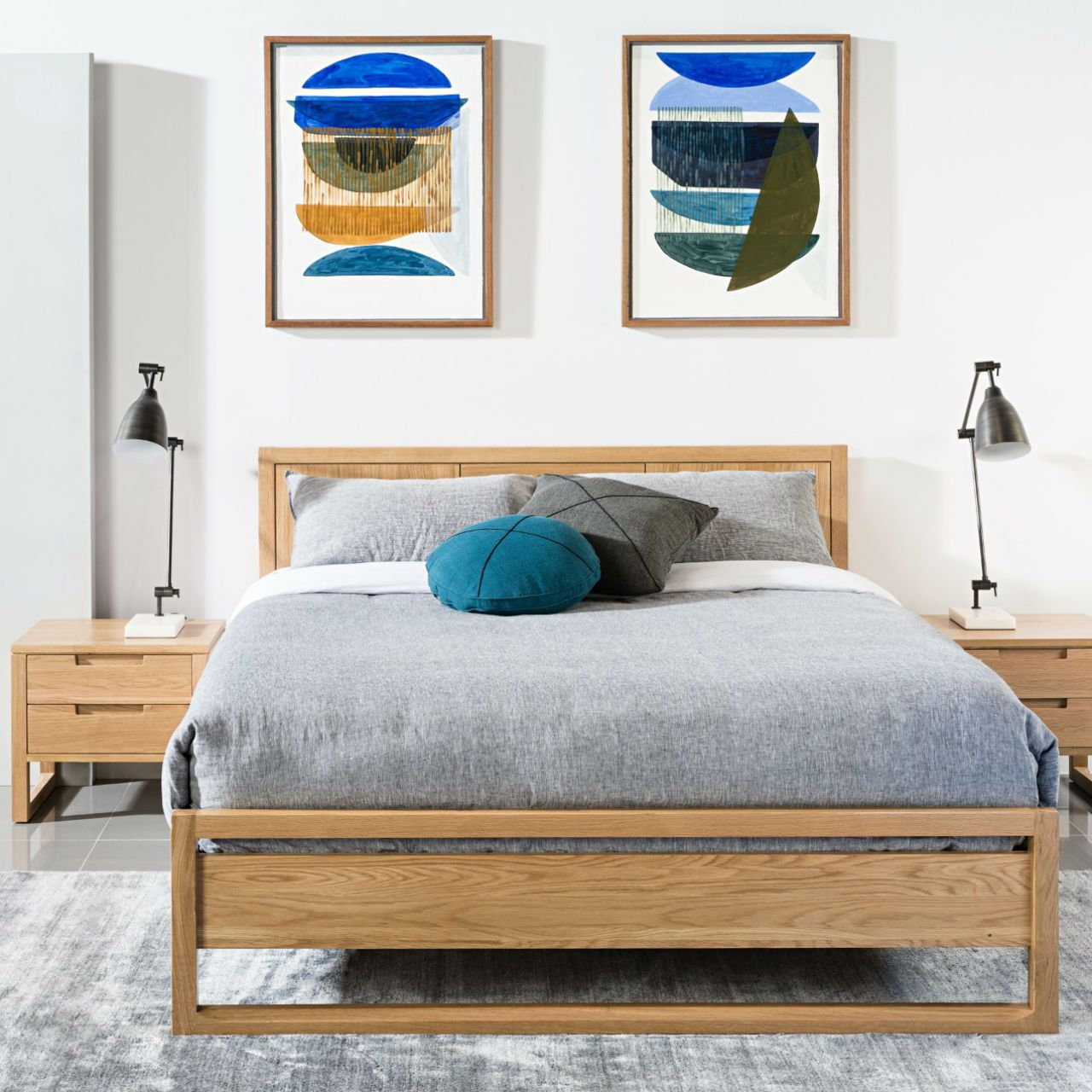 Bruno Queen Size Bed Frame Solid Oak 213x162cm Icon By
