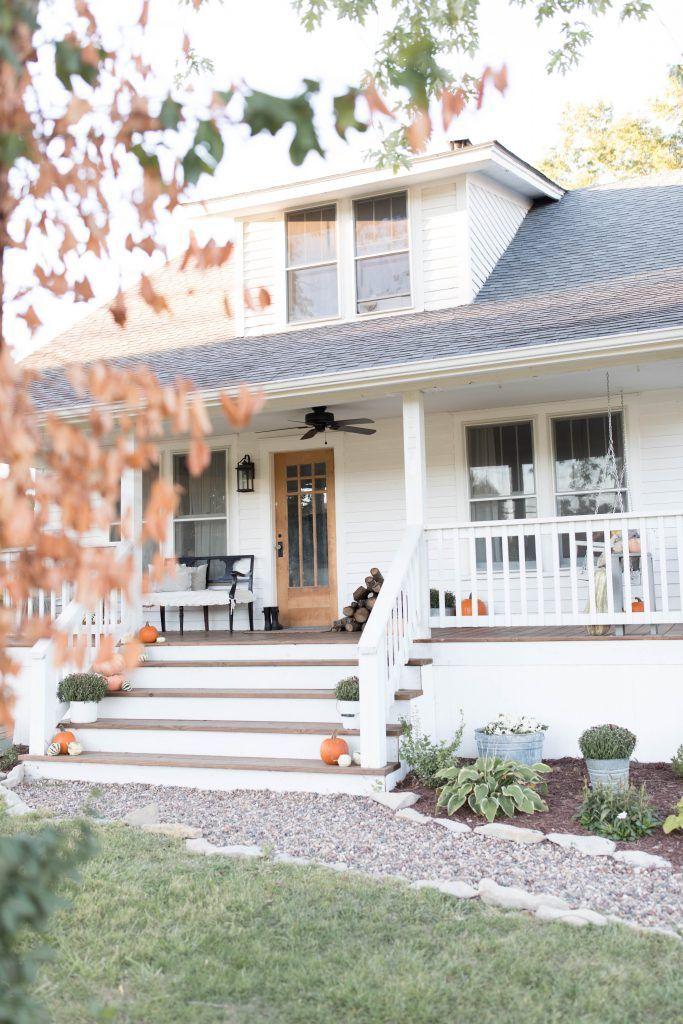 Front Porch Addition Farmhouse Front Porches House: Simple Farmhouse Front Porch Fall Decorating