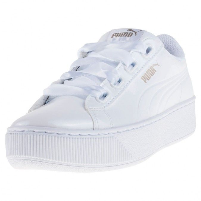 Puma Vikky Platform Ribbon Patent Womens Trainers in White
