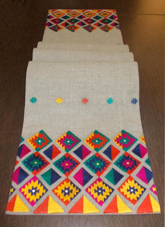 Table Runner Pure Linen Multicolor Embroidery Aztec By VLiving