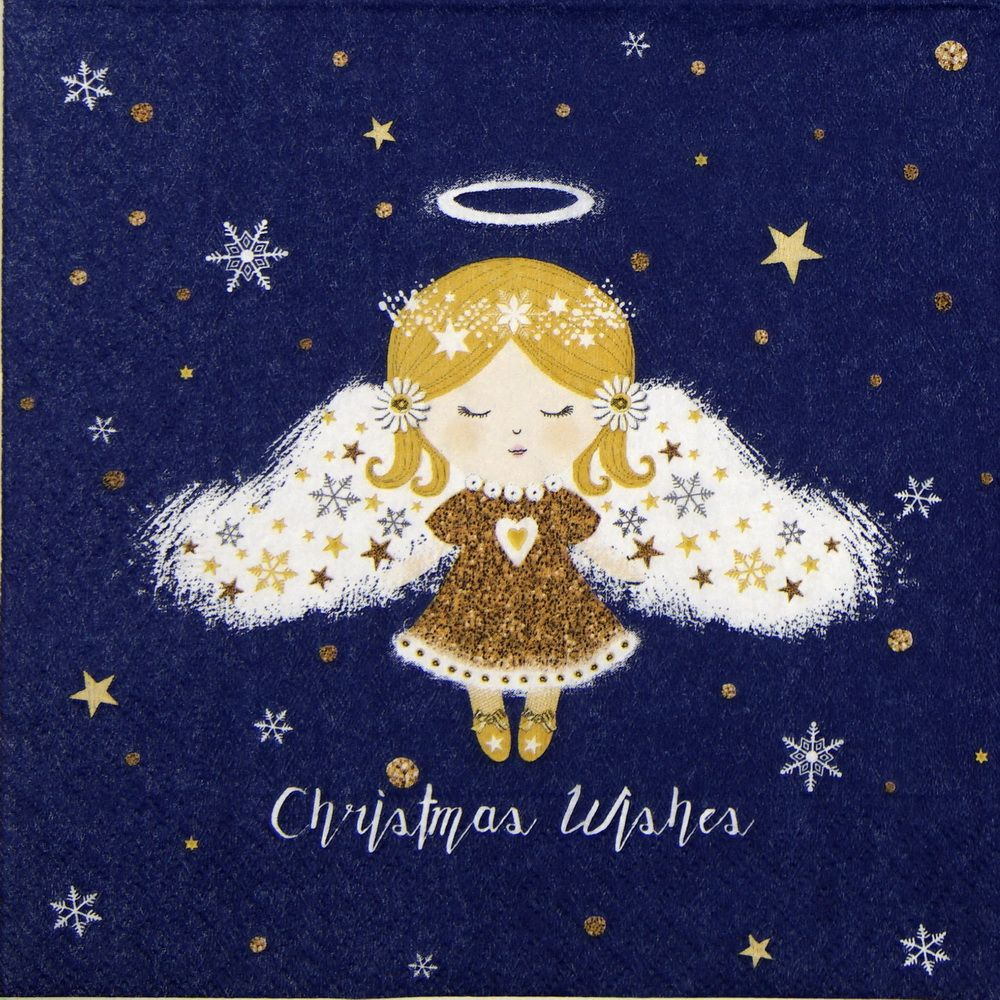 Xmas Christmas 4 Single paper decoupage napkins angels gold design -X44
