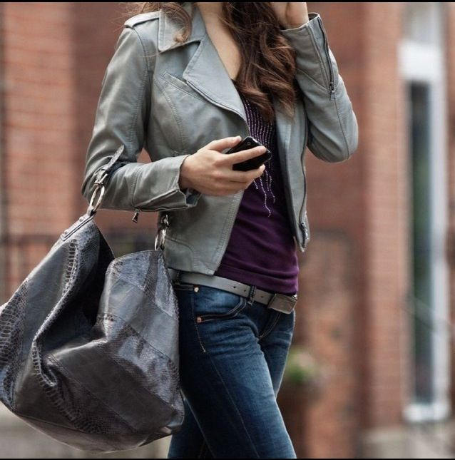 I like the gray lather jacket matched with a purple shirt and jeans, it's cute.