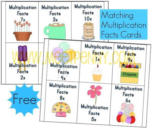free multiplication worksheets  fact cards with visual cues  math  free multiplication facts cards printable
