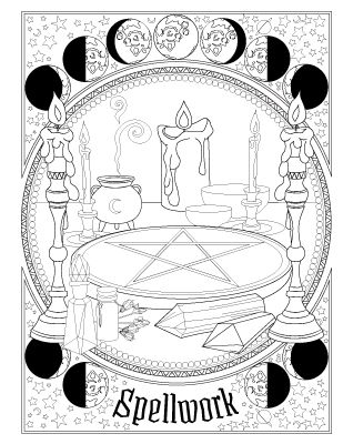 Book Of Spells Witch Coloring Pages Coloring Books Book Of Shadows