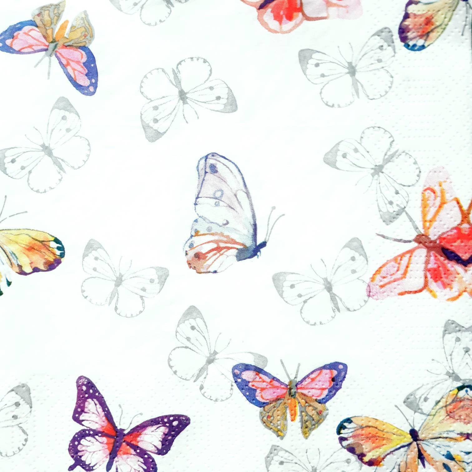 Watercolor Butterflies Paper Napkins Serviettes, Decoupage Paper Collection, Junk Journal Elements, 4 Paper Napkins for Decoupage, Collage