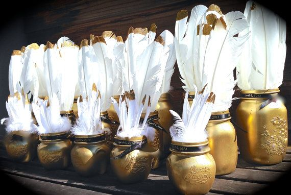Set of 16 Gold Mason Jars with white  gold glitter by only4udecor, $100.00