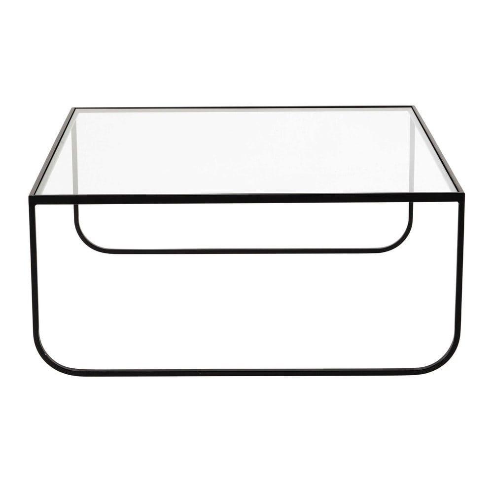 Tavolo basso quadrato in metallo e vetro temperato L 90 cm