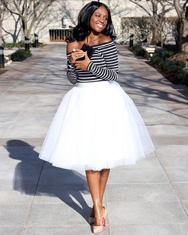 fashion blogger, stripe top, tulle skirt, street style