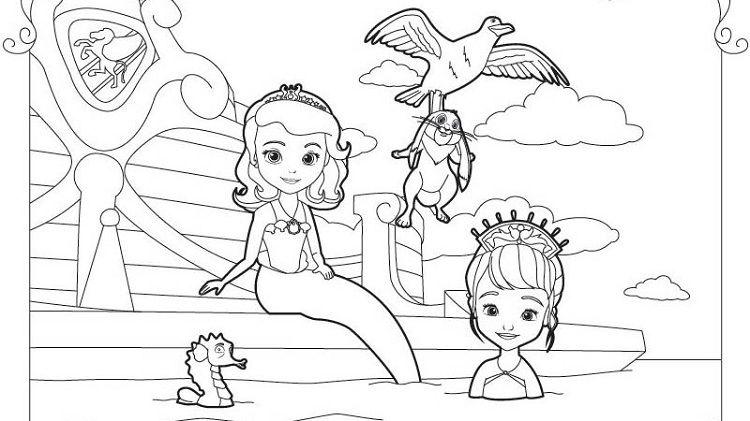 Princess Sofia Mermaid Coloring Pages Buku Mewarnai Warna Buku