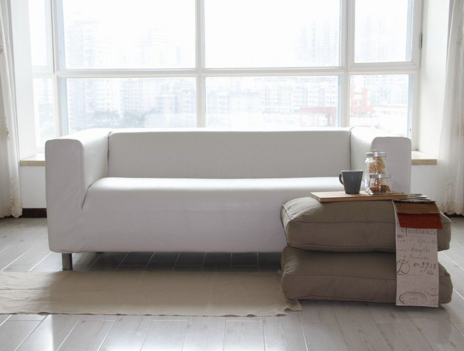 Custom IKEA Klippan 2 Seater Sofa Cover In Modena White Bycast Leather