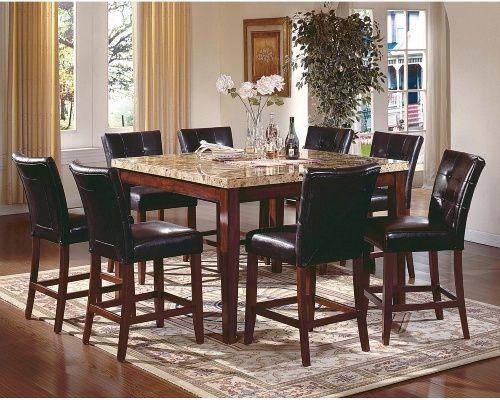 Steve Silver Montibello 7 Piece Marble Top Counter Height Square Dining Table Set Dining Tab Dining Table Marble Square Dining Table Set Square Dining Tables