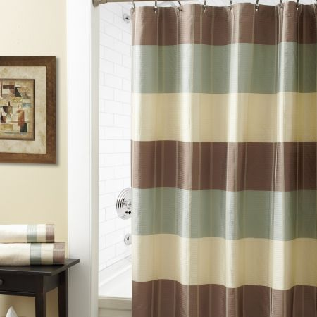 Croscill Fairfax Taupe Shower Curtain Contemporary Horizontal