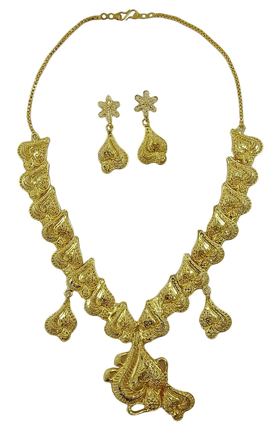 18k Goldplated Indian Traditional 2pcs Necklace Set Wedding Party Jewellery Engagement & Wedding Jewelry & Watches