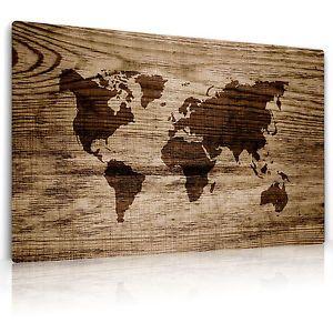 Leinwand Bild Auf Keilrahmen, #2101,Weltkarte In Holz Eingebrannt, FineArt  Print