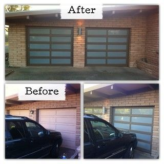 I took existing doors removed the panels had glass panels cut to do it yourself glass garage door solutioingenieria Choice Image