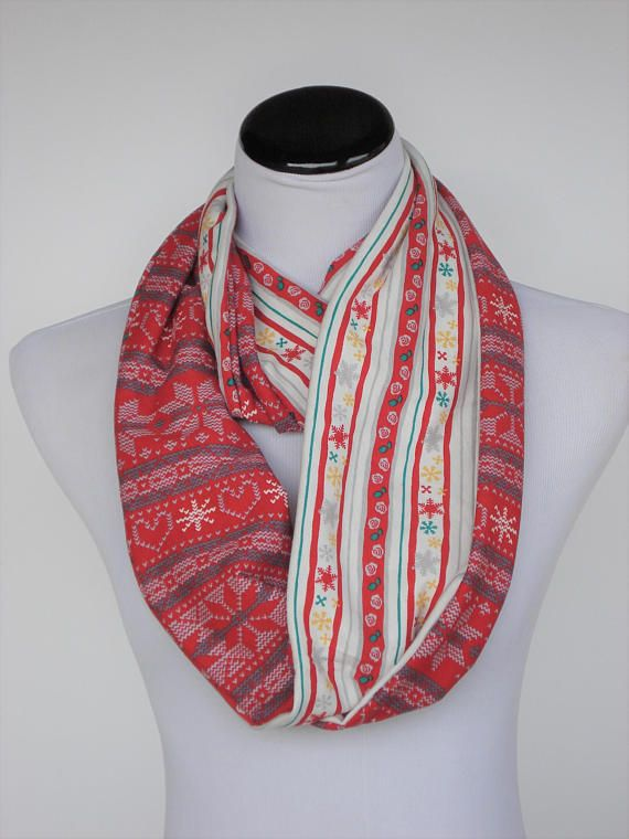 Reversible scarf Red fair isle infinity scarf Scandinavian | for ...