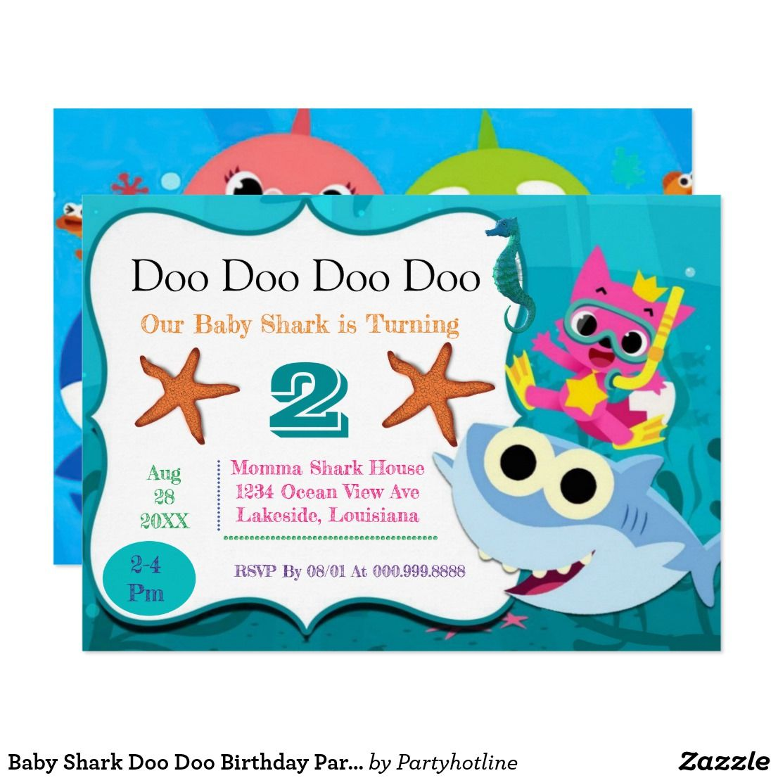 Baby Shark Invitations Baby Shark Girl Party Decorations Baby Shark Doo Doo Birthday Party Song Invites