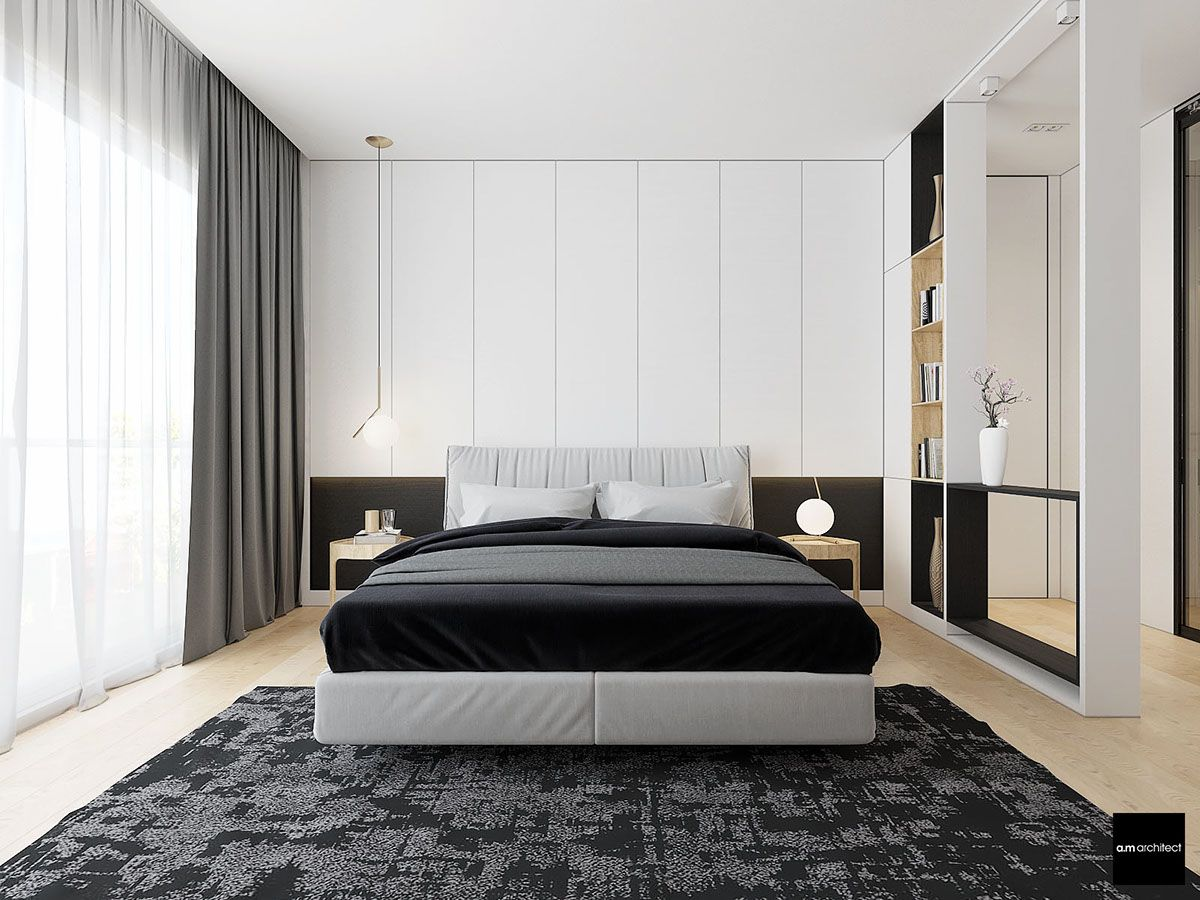 Two Modern Minimalist Apartments With Subtle Luxurious Details White Bedroom Design Modern Minimalist Bedroom Bedroom Interior Spacious and luxurious bedroom