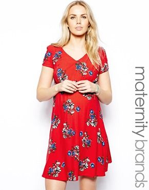Image 1 of New Look Maternity Floral Printed Tea Dress 8bcbb9e27