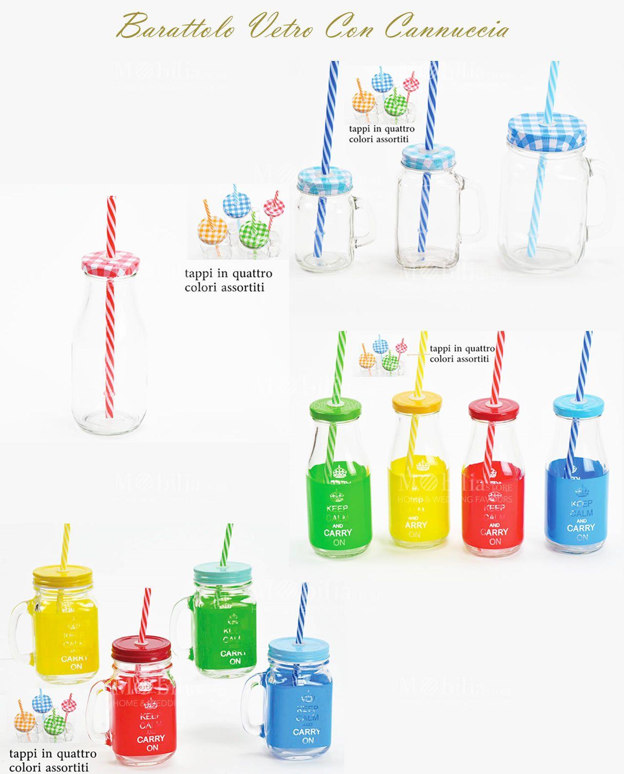 Barattoli vetro con cannuccia in 4 colori assortiti ideali per rinfrescarsi in modo originale e - Barattoli vetro ikea ...