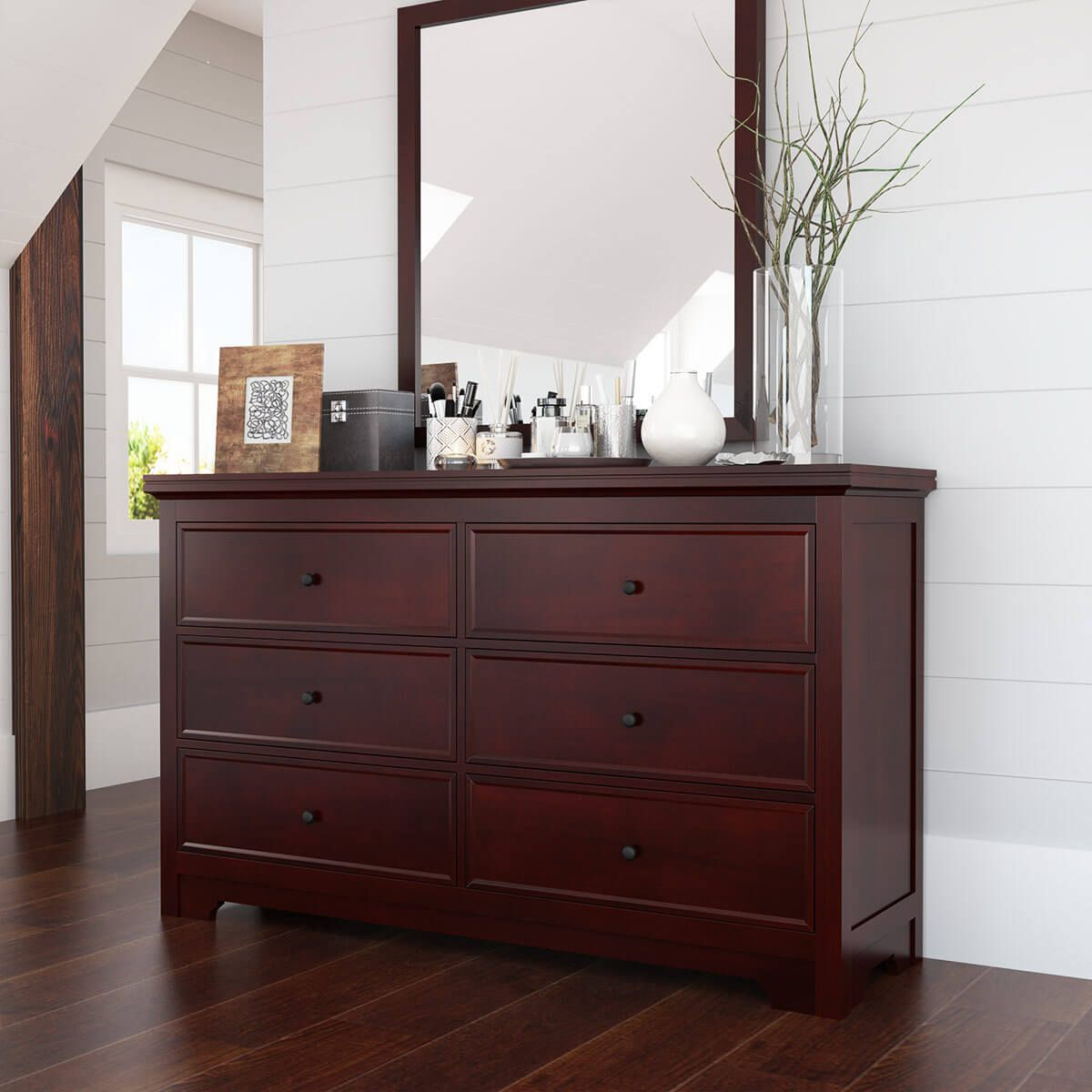 Best Carina Contemporary Mahogany Wood 6 Drawer Double Dresser 640 x 480