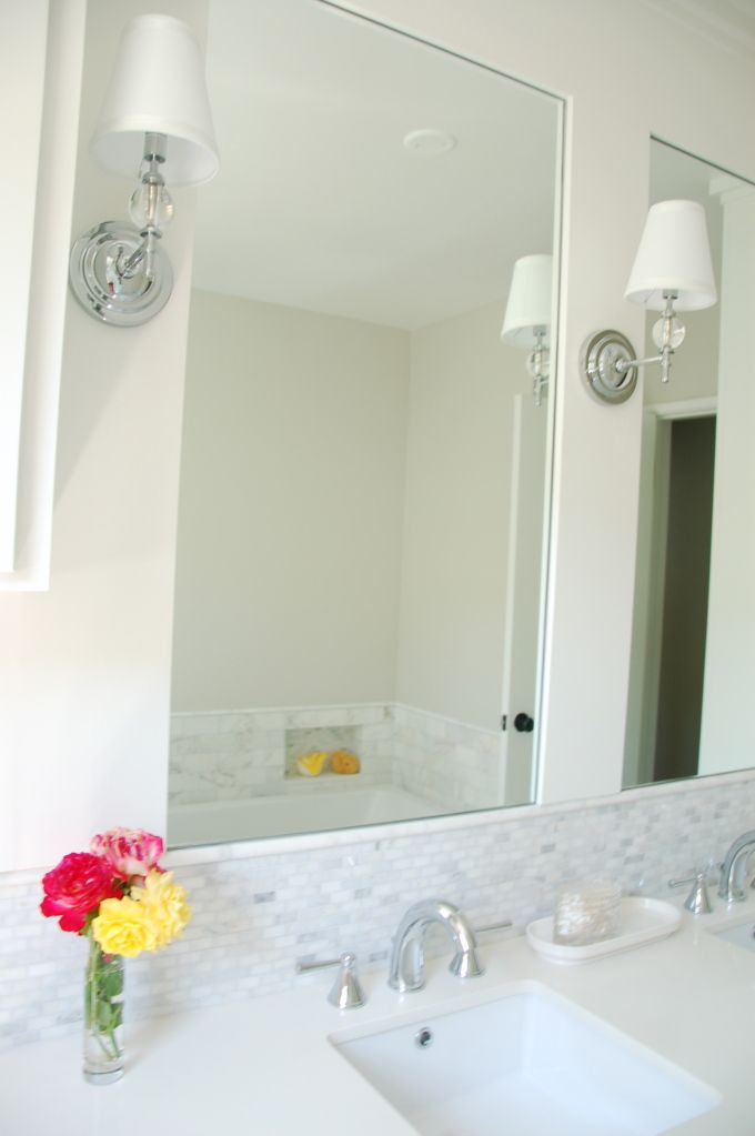 Quartz Counters Mini Marble Backsplash With White Frost C Cure Grout A Very Light Gray