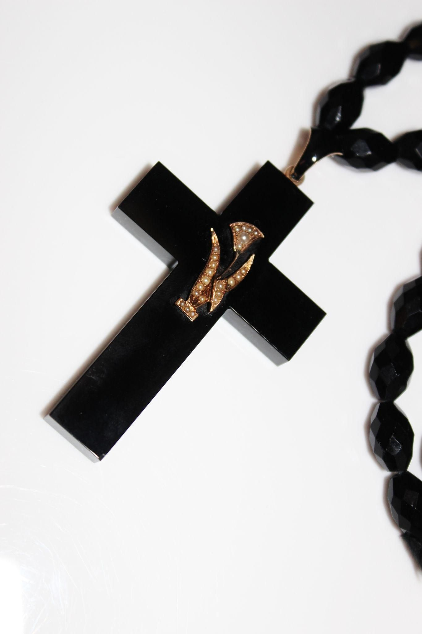 Antique victorian mourning onyx cross necklace 14k lily flower antique victorian mourning onyx cross necklace 14k lily flower jet beads 52 aloadofball Images
