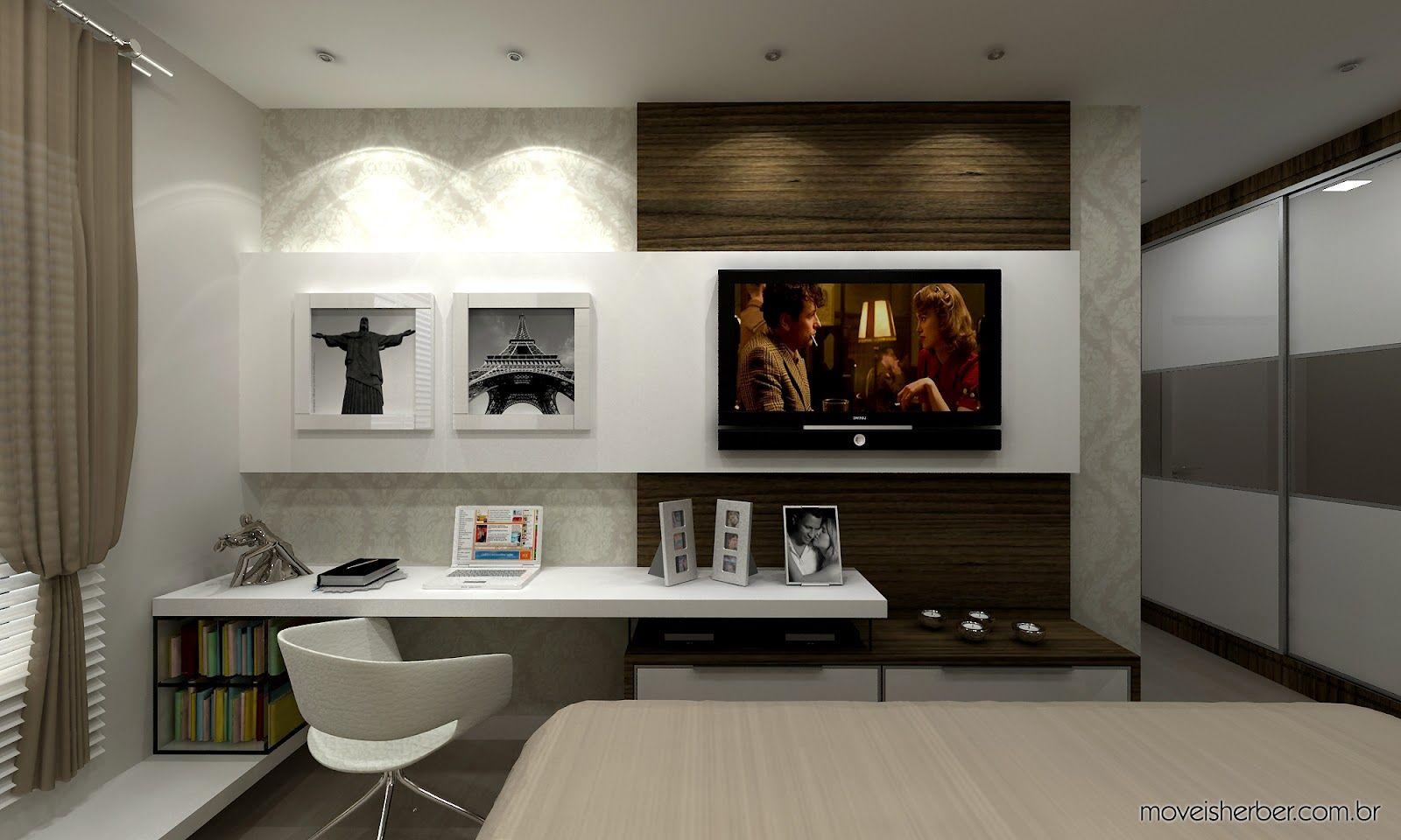 quarto de casal com mesa de trabalho Pesquisa Google  ~ Bancada Tv Quarto
