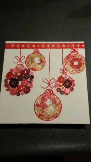 Kerst schilderijtje knopen en decopatch