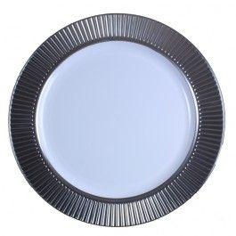 China-Like Silver Celebration Trim 10.5'' Plates - 10 Per Package