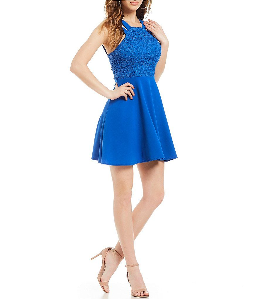 B darlin double strap lace bodice fitand flare dress homecoming