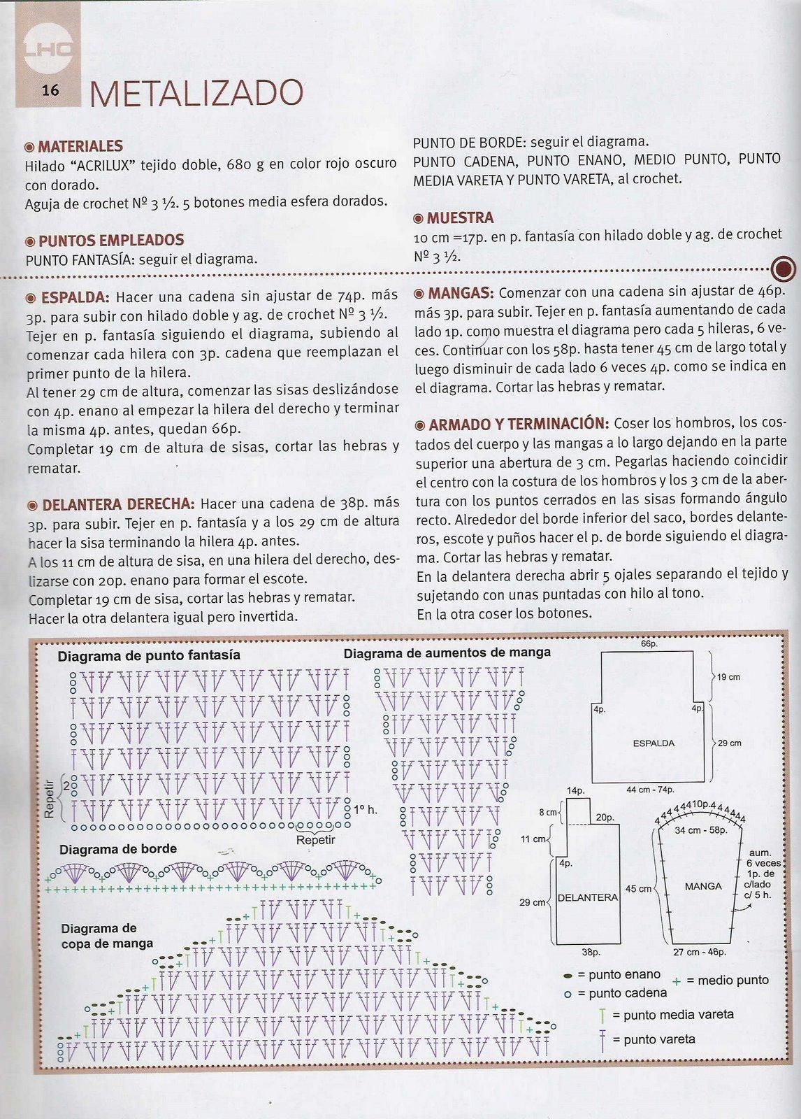 3 MODELOS DE CHAQUETAS A CROCHET - gráficos Navegando... he ...