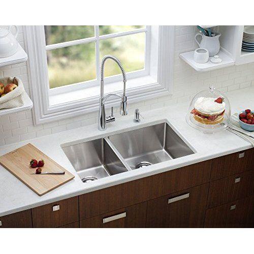 Ruvati Rvm4350 Low Divide 32 Undermount Double Bowl Kitchen Sink Stainless Steel Modern Kitchen Sinks Best Kitchen Sinks Modern Kitchen