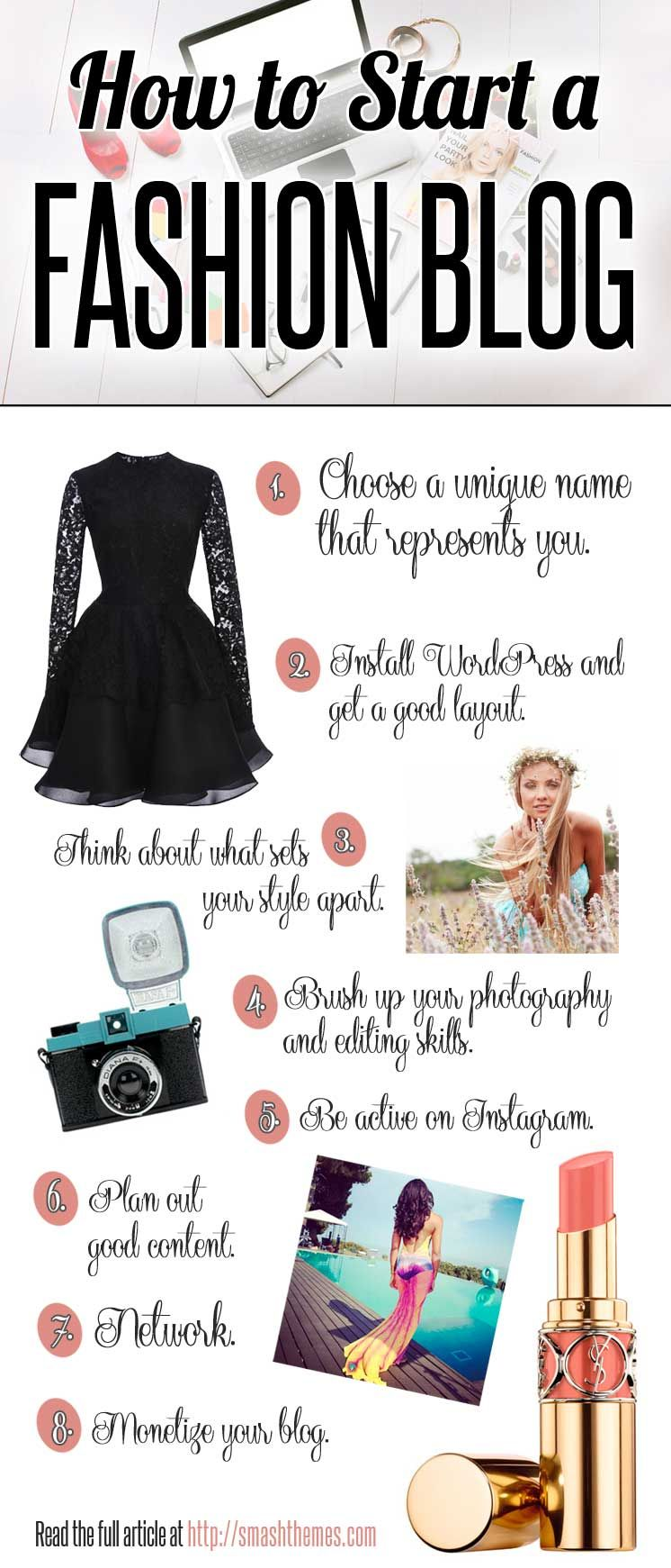 How To Start A Fashion Blog Infographic. 10 Tips About How