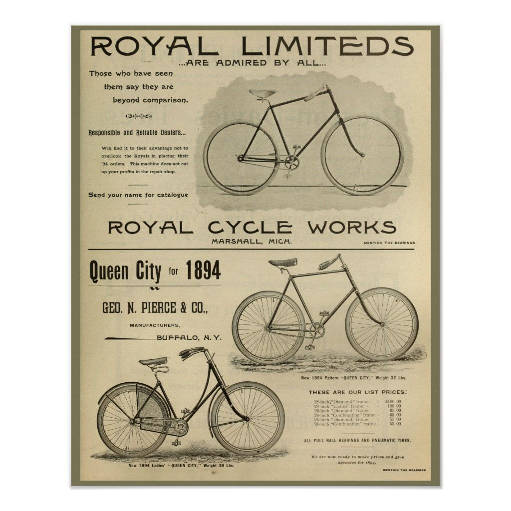 1894 Royal Cycle Works Bicycle Ad Art Poster Zazzle Com Ad Art