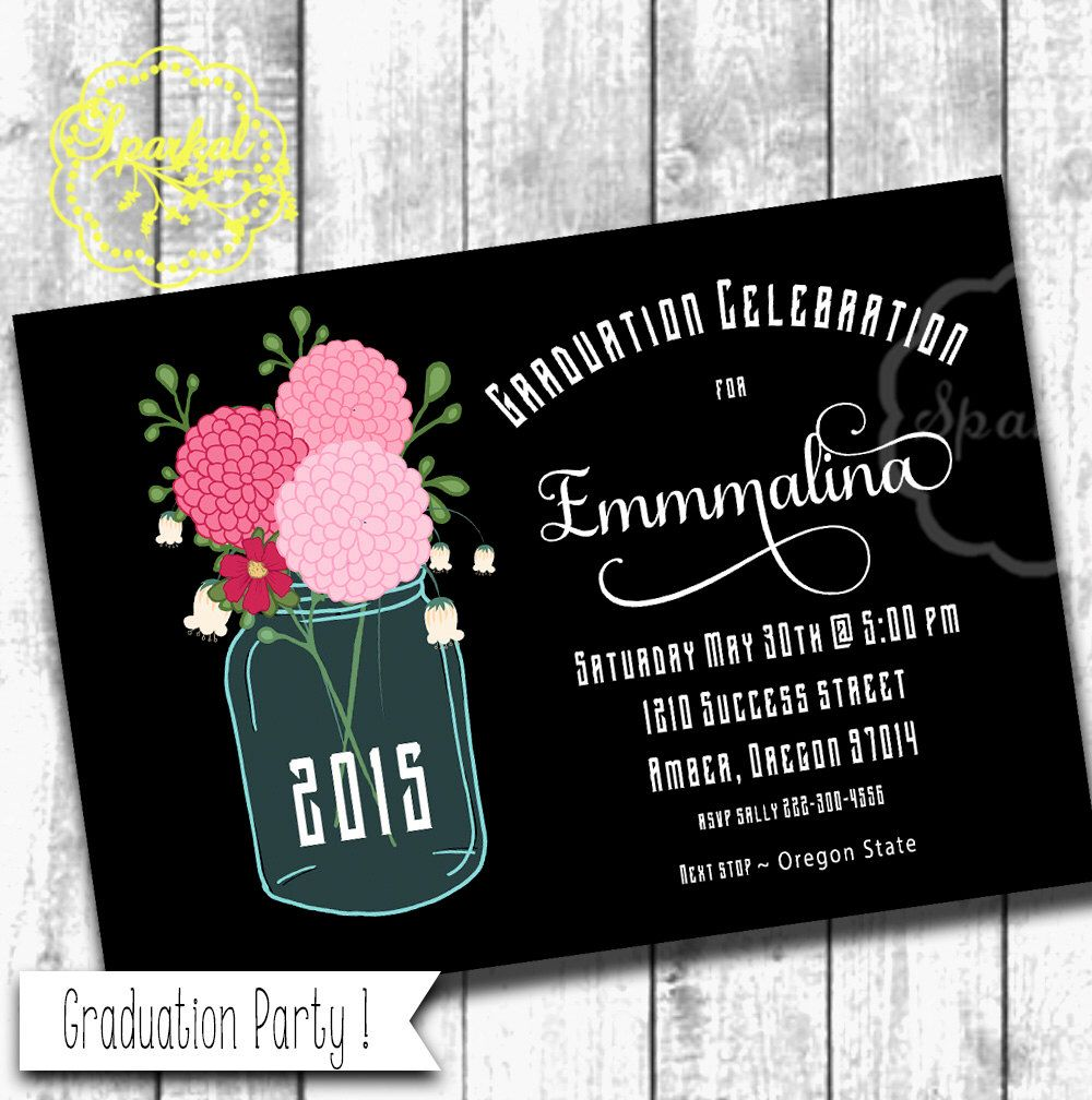 Graduation Party Invitation, Mason Jar Chalkboard Style 5x7 ...