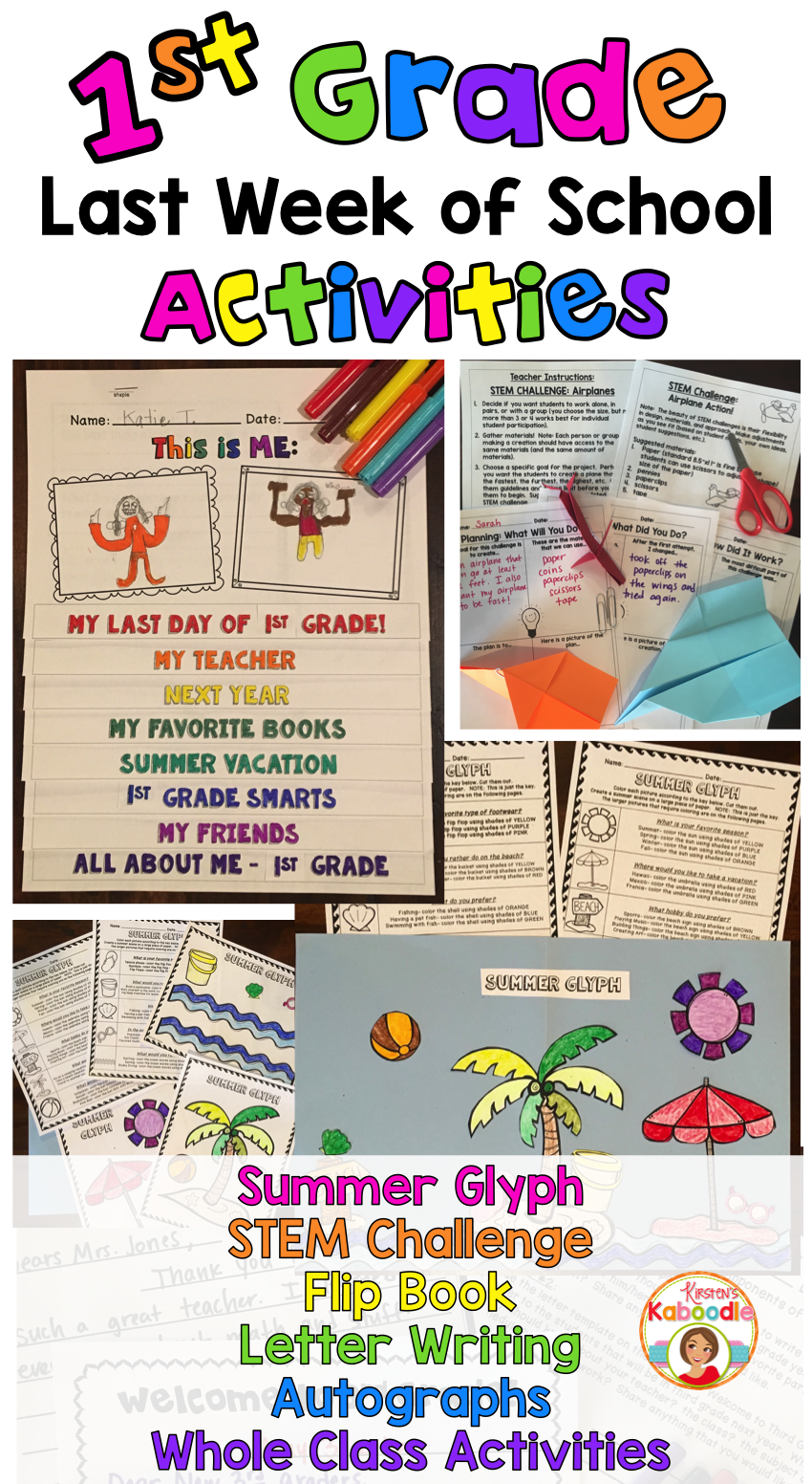 These end of year activities are easy to use and are created especially for 1st  grade (other grade levels available, click the link and find them in the ...