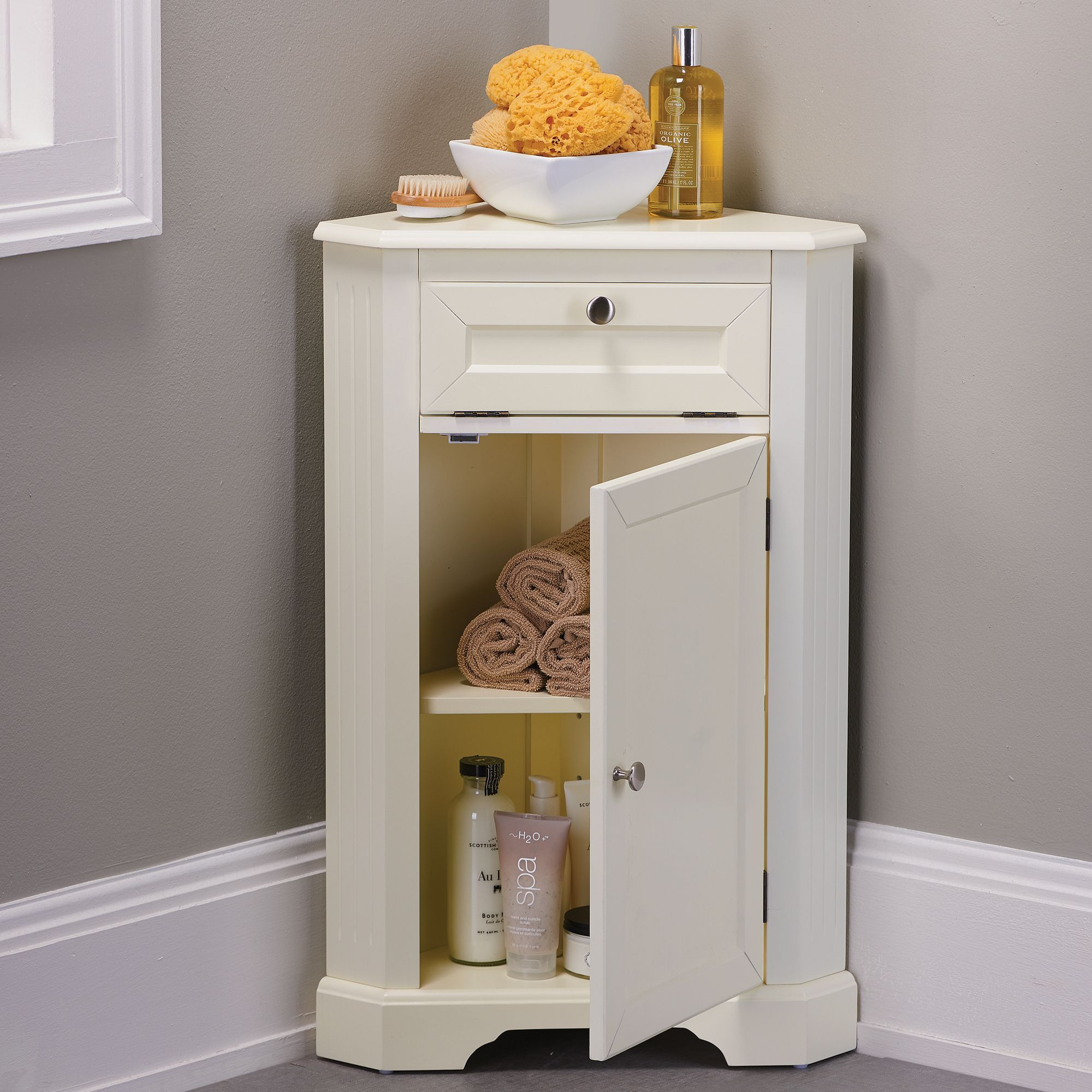 Maximize Storage Space In Small Bathrooms With Our Weatherby Corner Storage Cabinet Our Bathroom Floor Cabinets Corner Storage Cabinet Bathroom Corner Storage