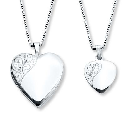 Mother Daughter Necklaces Heart With Swirls Sterling