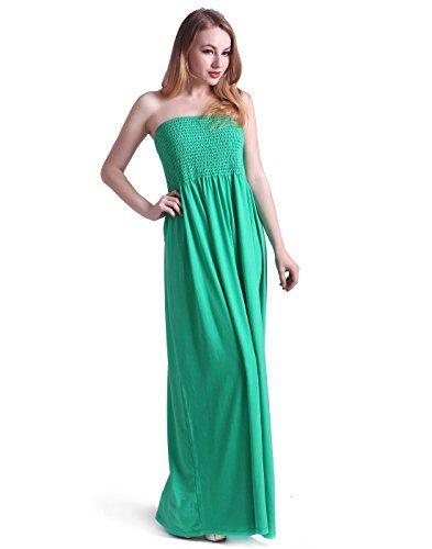 6f33922373 HDE Women's Strapless Maxi Dress Plus Size Tube Top Long Skirt ...