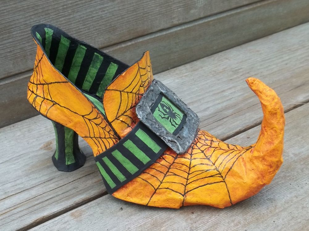 All Things Crafty Paper Mache Witch Boots Halloween Shoes Halloween Crafts