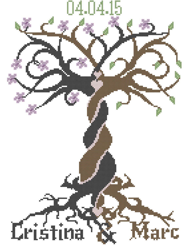 Modern Wedding Cross Stitch Pattern, Tribal Tree Cross Stitch ...