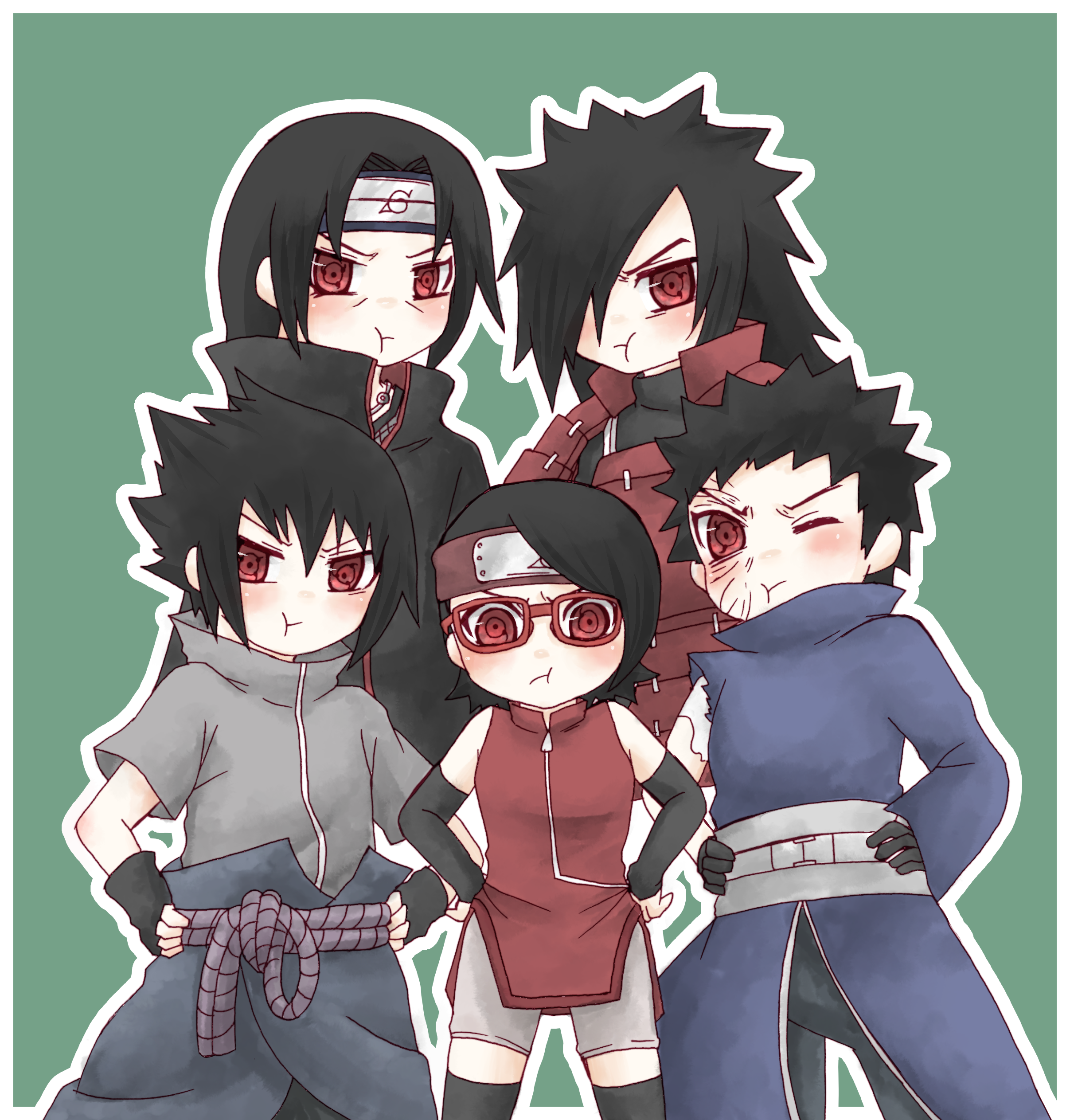 The Uchiha: Madara,Sasuke,Itachi,Obito And Sarada Uchiha Chibi KAWAIII