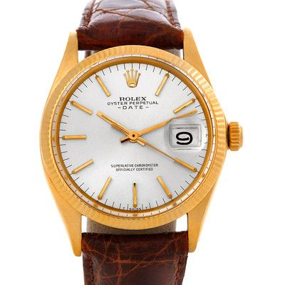 Rolex Date 1503 Vintage Mens 14k Yellow Gold Watch