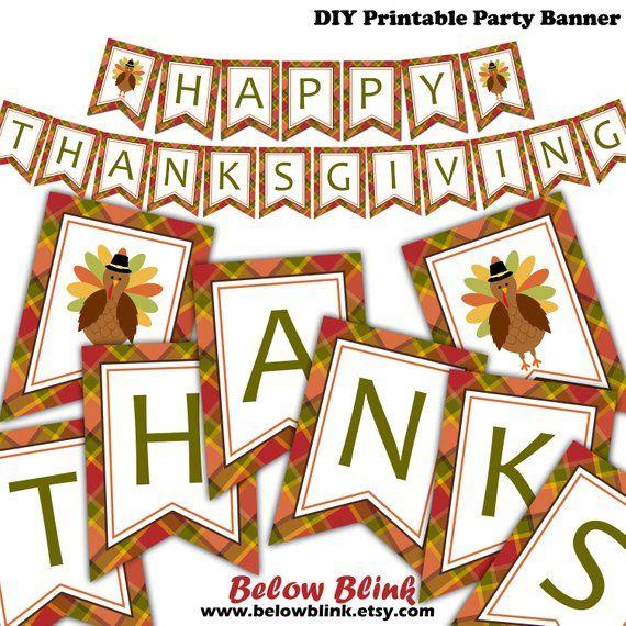 picture regarding Printable Thanksgiving Banners known as Pleased Thanksgiving Banner, Printable Drop Banner, Deliver