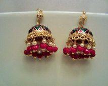 On Sale - Chandelier Earrings- Meenakari, Red and Green Enameled ...